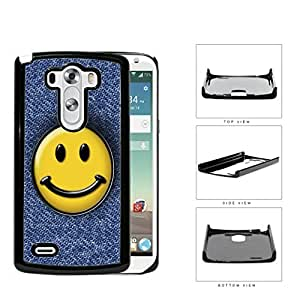 Smiley Face On Denim Jean Surface Hard Plastic Snap On Cell Phone Case LG G3