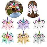 Girls Unicorn Hair Bows with Elastic Band Cheer Bows Hair Accessories for Kids 6 Packs