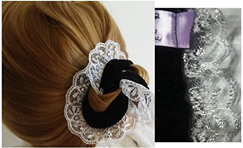 Price comparison product image PRO HAIR BUN Maker Set. 1 Lrg - 1 Sm ~Black Velvet Ribbon - White Lace with Silver Lurex. Easy - Comfortable - Sophisticated Elegance. Preferred by Professional Women and Athletes. It's Bun Time