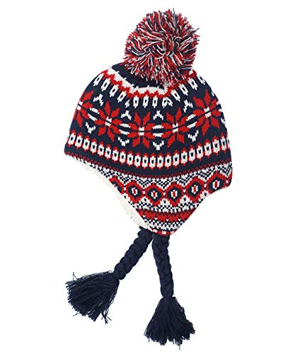 Snowflake Earflap Knit Hat - Home Prefer Infant Babies Soft Sherpa Hat Earflaps Snowflake Knit Hat for Winter Christmas Hat Red S