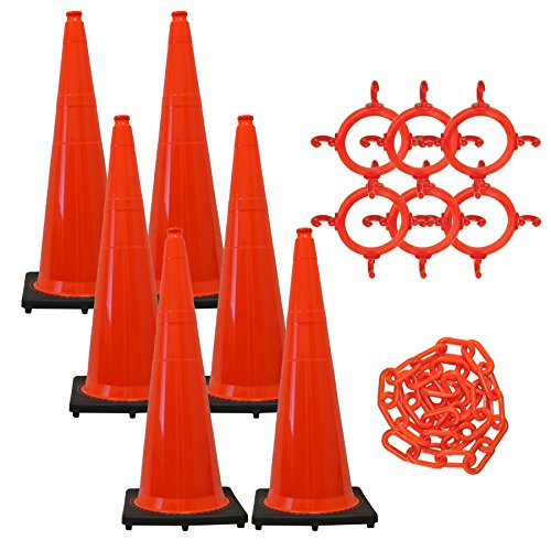 Mr. Chain - 36'' Traffic Cone and Chain Kit - Traffic Orange - 36'' Height - 14'' X 14'' base