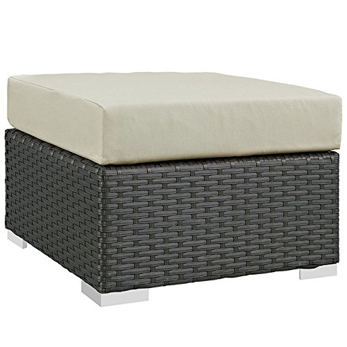 Modway EEI-1855-CHC-BEI Sojourn Wicker Rattan Outdoor Patio Coffee Table, Ottoman, Canvas Antique Beige