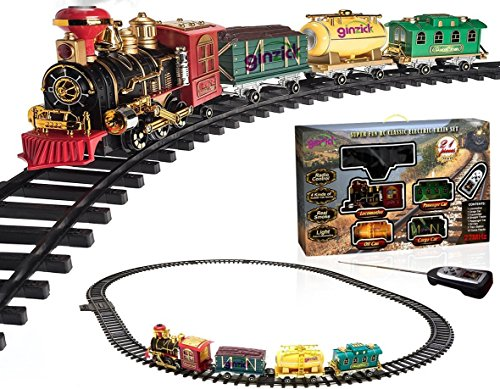 Ginzick Rc Remote Control Super Fun Classic Electric Train Set with Lights Sounds and Real Smoke (Perfect Gift and Special for Holiday) (Real Set Train)