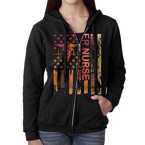 Lady ER Nurse Nurse Gifts Full-Zip Hoodie Sweatshirt Fleece Pullover Hooded Shirts Pocket L (Gifts Womens Zip Hoodie)
