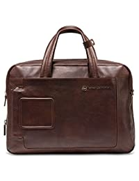 Piquadro Expandable Computer Portfolio Briefcase with Notebook Compartment, Dark Brown, One Size