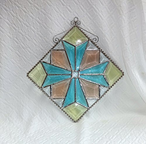 Beveled Stained Glass Suncatcher - Multi Colored Stained Glass Beveled Quilt