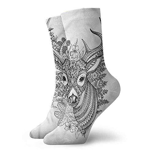 (Women's Novelty Cabin Detailed Deer Flowers Herbs Light Cushion Athletic Socks)