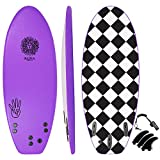 KONA SURF CO. The 4-4 Soft Top Foam Short Softboard Hybrid Boogie Bodyboard Surfboard Includes Fins and Leash in Purple sz:4ft 4in