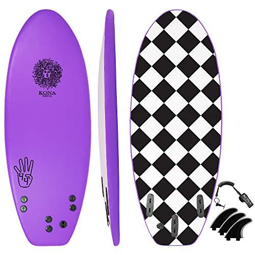 KONA SURF CO. The 4-4 Soft Top Foam Short Softboard Hybrid Boogie Bodyboard Surfboard Includes Fins and Leash in Purple sz:4ft 4in