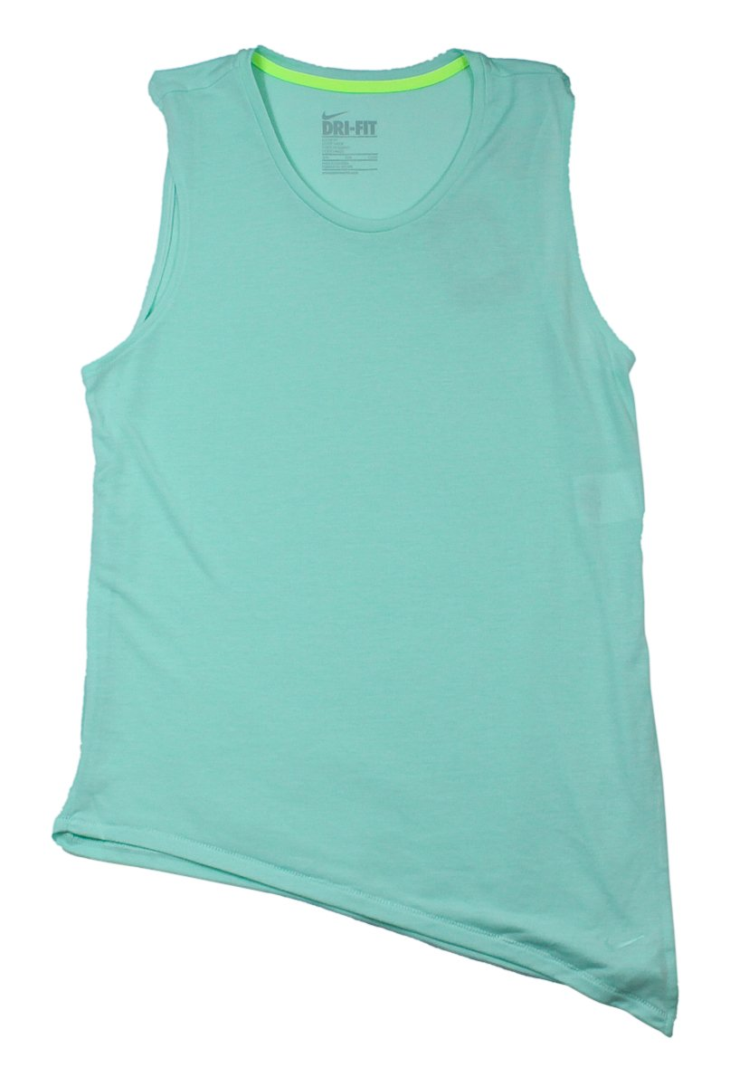 Nike Womens Verde Menta Dri-fit Touch Club Side Tie SS Athletic ...