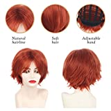Short Red Synthetic Anime Cosplay wigs for
