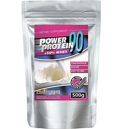 Proteinhaus - Power Protein 90 500g Banane- Kirsch Eiweißshake 4 Komponentenprotein Matrix mit Whey-Isolate -Concentrate Egg-Protein ( Ei ), Soja-Isolate für Muskelaufbau Eiweißpulver Shake Low Carb