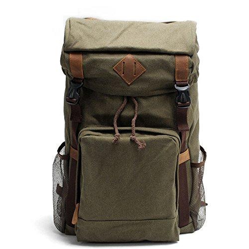 Vintage Mochila Outdoor, Viajes Trekking Camping Mochila Pack, Grandes casual, mochila daypack College School, bolsas de hombro portátil tabletas para hombres/mujeres/Adolescentes/alumno, Daypacks,ver green