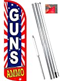 Vista Flags Guns Ammo (Starburst) Windless Feather Banner Flag Kit (Flag, Pole, Ground Mt)