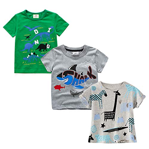 MSsmart Big Kid T-Shirt Summer Clothing Print Tee Giraffe 3-Pack 2T