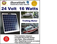 !! 24 Volt solar charger !! - 1/2 Amp Trickle Charger for 24V Trolling Motors - Self Regulating - Semi Flexible - 16.6W / ½ Amp - Boat Rv Marine Solar Panel - No experience Plug & Play Design. Dimensions 14.1 in x 15.7 W x 1/4