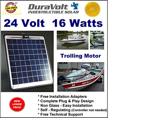 Trolling Motor 24V battery charger- 1/2 Amp Trickle Solar Charger - Self Regulating - Boat Marine Solar Panel - No experience Plug & Play Design. Dimensions 14.1 in x 15.7 W x 1/4 by DuraVolt