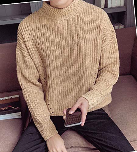 De Camello Suéter Jersey Hombre Otoño Pulóver Cuello Redondo Punto Invierno Mengyu xZpPqwc7Ix