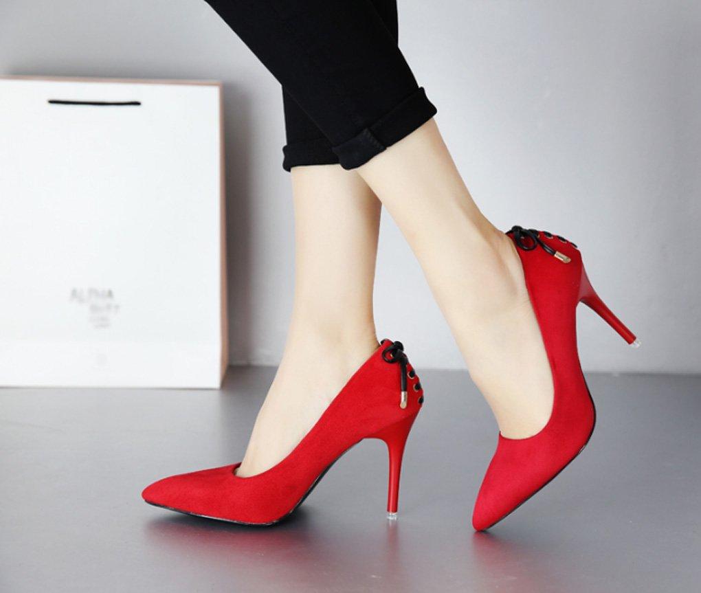 LBDX High-Heeled Schuhe, Frühling und berufliche Sommer dünnen Hohen Absatz Wies berufliche und Temperament Sexy Frauen Schuhe (Farbe : Rot, größe : 34) Rot 1f48a8