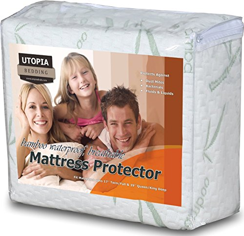 Waterproof Bamboo Mattress Protector - Hypoallergenic fitted Mattress Cover - Breathable Cool Flow Technology - Vinyl Free (Queen) - by Utopia Bedding (Bedding Queen Mattress)