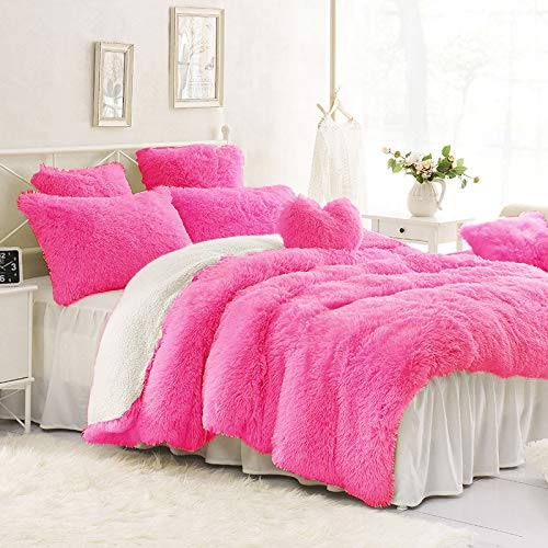 - Sleepwish Luxury Rose Red Velvet Bedding 2 Plush Shaggy Decorative Pillow Cases Queen Size Faux Fur Duvet Cover