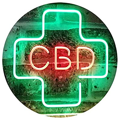 """AdvpPro 2C CBD Sold Here Medical Cross Indoor Dual Color LED Neon Sign Green & Red 16"""" x 12"""" st6s43-i3083-gr"""