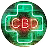 ADVPRO CBD Sold Here Medical Cross Indoor Dual Color LED Neon Sign Green & Red 16'' x 12'' st6s43-i3083-gr