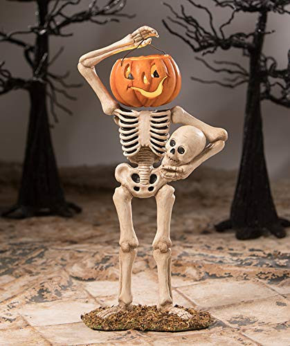 Bethany Lowe Pumpkin Bucket Head Skelly Figurine Halloween Skeleton New