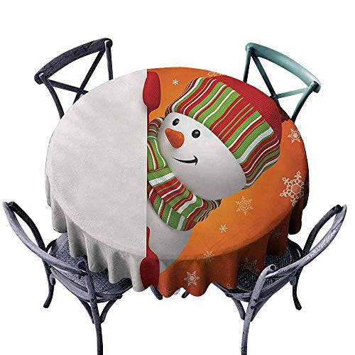 VIVIDX Spill-Proof Table Cover,Christmas,Cute Snowman with Mittens and Hat and Scarf New Year Celebration Festive Design,for Banquet Decoration Dining Table Cover,35 INCH,White Orange