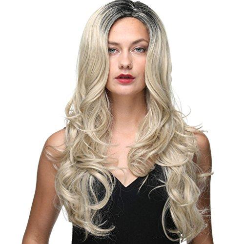 Ombre Two Tone Black and Brown Parrucche per donna Fashion Long Female Wig resistente al calore Buona garanzia (22INCH 6TLG26) 22INCH 24+1