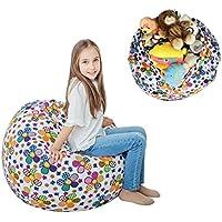 "Stuffed Animal Storage Bean Bag XXL – 100% Cotton Canvas Plush Toy Organizing Bag, Machine Washable (38"",Flowers) Comfortable & Soft Seat For Nursery   Stylish Chair/Ottoman/Pouf For Boys & Girls"