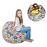 "Stuffed Animal Storage Bean Bag XXL – 100% Cotton Canvas Plush Toy Organizing Bag, Machine Washable (38"",Flowers) Comfortable & Soft Seat For Nursery 