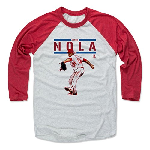 500 LEVEL's Aaron Nola Play R Philadelphia Baseball Baseball T-Shirt L Red / Ash Officially Licensed by the Major League Baseball Players Association (MLBPA)