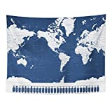 Emvency Tapestry America Centered World Map and Navigation Pointers Highly Detailed Home Decor Wall Hanging for Living Room Bedroom Dorm 60x80 Inches