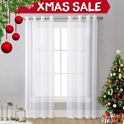 NICETOWN Sheer Window Curtain Panels - Solid White Panels / Drapes with Grommet Top (2-Pack, 54 Wide x 96 inch Long, White) (Long Panels Extra Curtain)