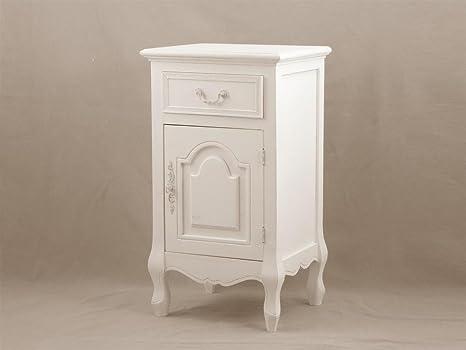 Comodino shabby in legno bianco con cassetto e anta