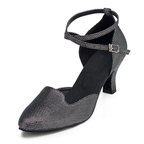Miyoopark Scarpe Da Sera Femminili Eleganti Glitter Glitterati Tango Latino Scarpe Da Sera Femminili Tacco Nero-7cm