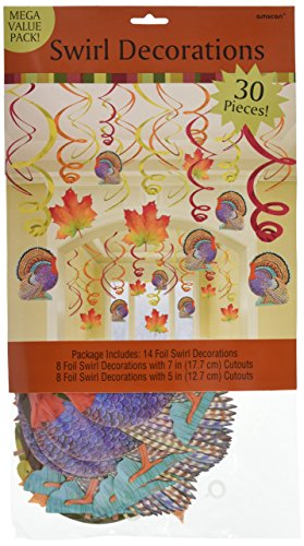 Colors of Autumn Thanksgiving Party Foil Swirls With Hanging Cutouts Mega Value Pack Ceiling Decorations, Foil, Pack of 30