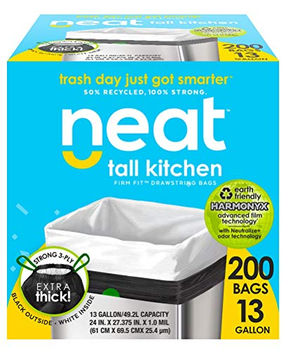 Neat Tall Kitchen 13 Gallon Drawstring Trash Bags - (MEGA 200 Count) - Triple Ply Fortified, Eco-Friendly 50% Recycled Material, Neutralize+ Odor Technology, Reversible Black and White Garbage - Recycled Materials