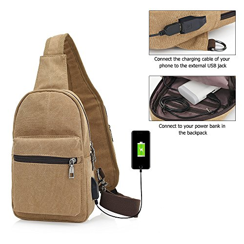 Holes Pack Backpack Travel Headphone Casual Black Port And Usb Chest Canvas Charging With Festnight Sling Shoulder Bag q7SXTZx