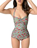BMJL Women's Vintage Cherry Plaid Ruched Beachwear Halter Neck Swimsuit One Piece Pin Up Monokini (L,Plaid &Cherry)