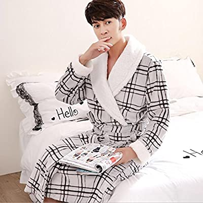Bathrobe Men And Women Bathrobes Couples Soft and Fluffy Padded Nightwear Flannel Long-sleeved Home Bathrobes Robes Nightgowns