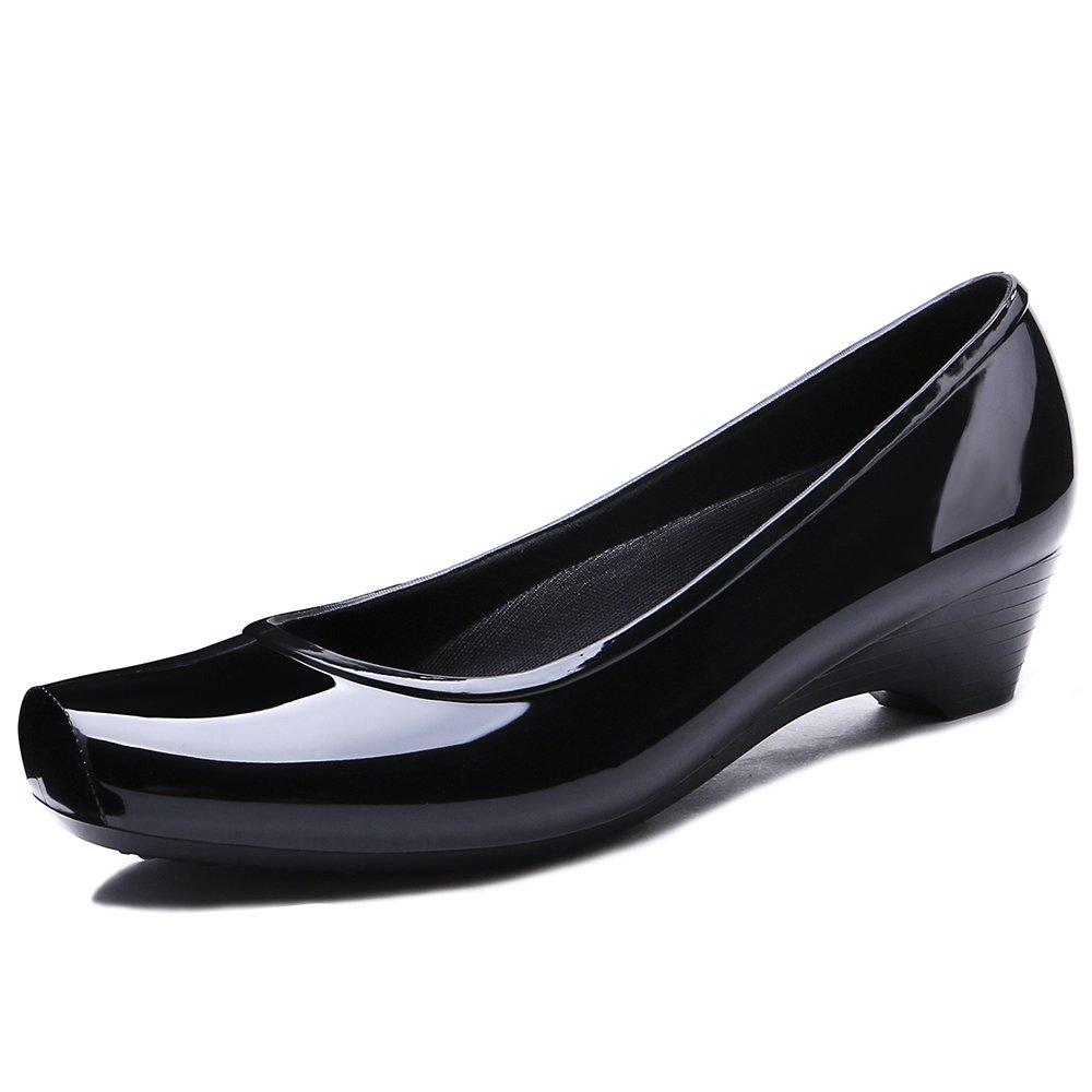 TONGPU Women's Rain Shoes Low Heel Rain Footwear Garden Shoes US9 Black
