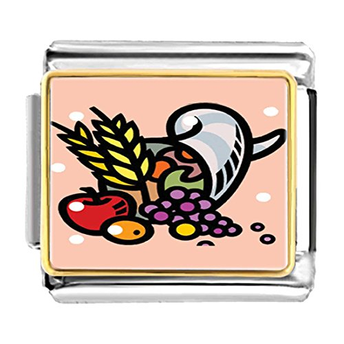GiftJewelryShop Gold Plated Apple Wheat and Grapes Harvest Bracelet Link Photo Italian Charm