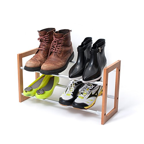 INNOKA 2-Tier Expandable Shoe Rack [Up to 12-Pair Shoe Rack] [Space-Saving] Adjustable Wooden and Aluminum Shoes Rack - Easy to Assemble, Perfect for Hallway Entrance & Wardrobe - Wardrobe Aluminum Rack