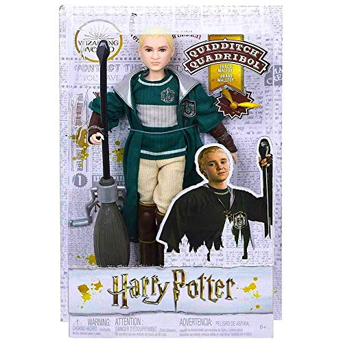 "HARRY POTTER Draco Malfoy Quidditch Uniform Doll 10"" with Snitch"