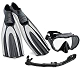 Mares SA036WH Avanti Superchannel Full Foot Fins with Frameless Mask Snorkel Combo, Grey, US 3.5-4.5/EU 36
