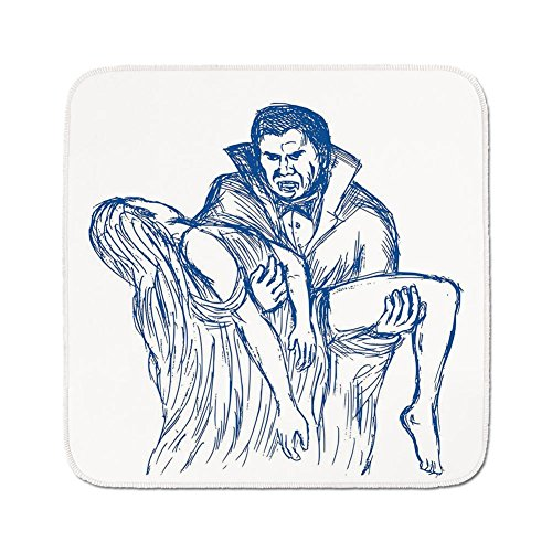 Cozy Seat Protector Pads Cushion Area Rug,Vampire,Count Dracula in Cape Carrying His Prey Victim Woman Sketchy Halloween Artwork,Blue and White,Easy to Use on Any Surface -