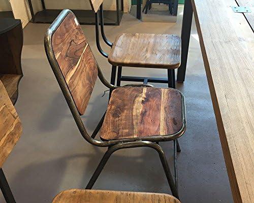 Loft Acaciawood Iron Dining Slim Chaise fabriquée à la Main en Bois d'altholé et métal Vieilli Style Vintage