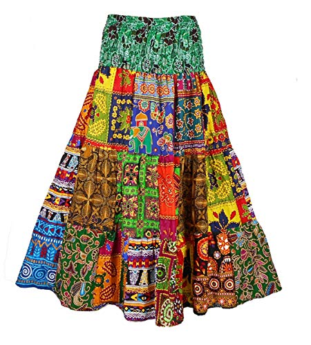 BONYA Women's Hippie Boho Colorful Patchwork Smocked Stretch Waist Tiered Long Skirt (Color32)
